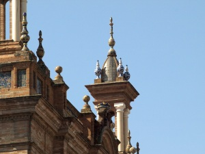Glazed adornments on top of the towers.