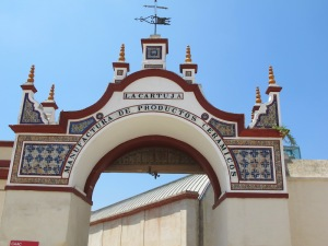 A close-up look at the grand ceramics factory arch.