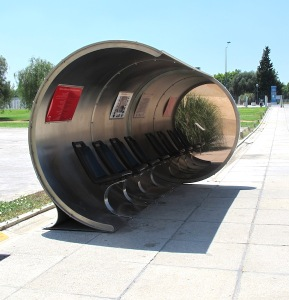 One of the exhibition installations, an innovative bus shelter at the Andalusian Centre for Contemporary Art. It has one mirror end.