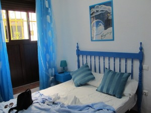 Our small bedroom. Current research indicates that people sleep longer if a bedroom contains the colour blue.