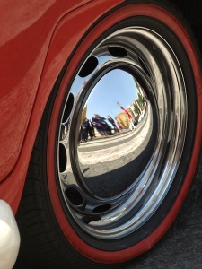 The wheel of the bridal car. Car aficionados, can you guess what the car is?