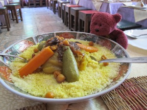The good food…carrots, zucchini, beans and chickpeas on a bed of couscous.