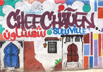Wall painting in Chefchaouen.