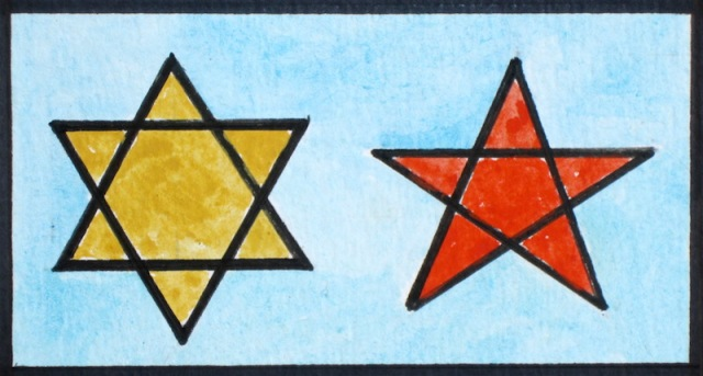 The star on the left is the Star of David and the one on the right is the symbol of Morocco.