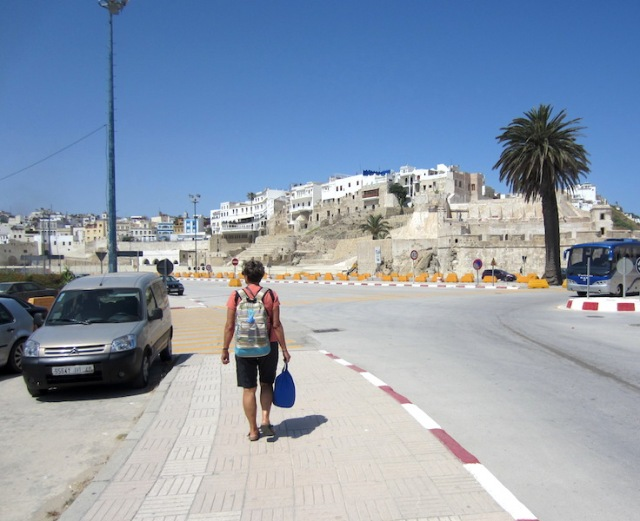 Bev travelling light and heading for the Tangier medina.