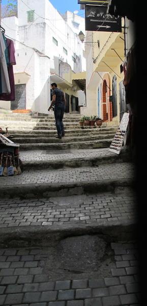 Steep pathway in the Tangier medina, definitely not bike friendly.