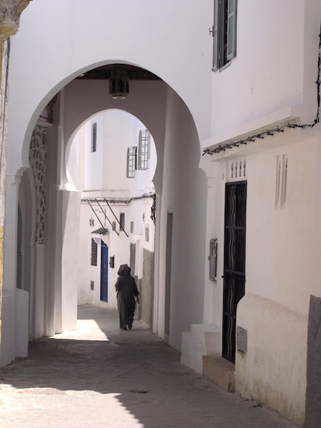 Arches and snickleways are a feature of medina streets in Tangier.