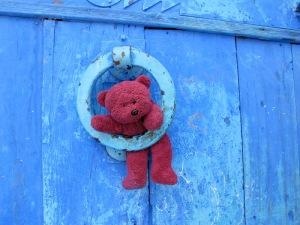 Colourful door knocker.