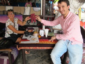 Bev and Omar, the proprietor of Café Haji in Chefchaouen.