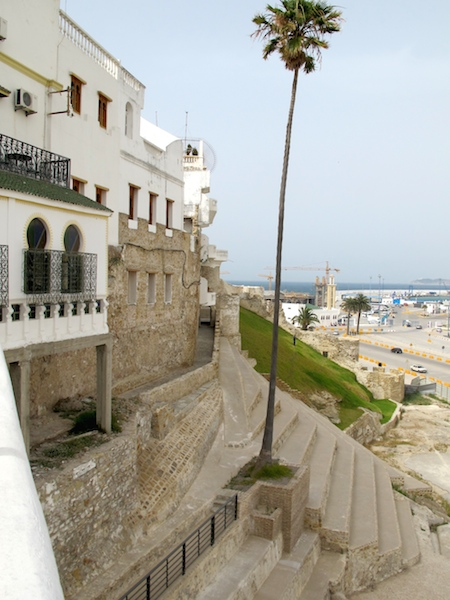View of Tangier port and portion of the medina wall from the hotel terrace.