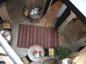 Dining area of the Dar Bargach guesthouse. The photograph is taken from the balcony outside our bedroom door.