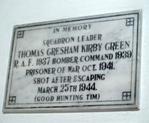 Plaque in memory of Squadron Leader Thomas Kirby-Green.
