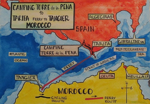 Map showing the Strait of Gibraltar. From Tarifa to Tangier it is 36km. The Strait of Gibraltar at its narrowest point is approximately 14km.