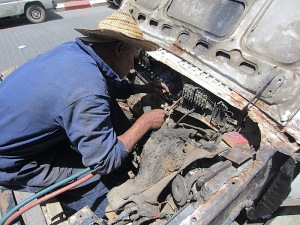 Brazing in a new cross-member.  By the look of it the van had been immersed in water, probably salt water, as it was riddled with rust.