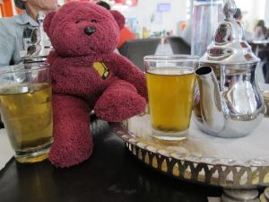 BBear preparing to take mint tea.