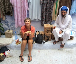 Bev and the likeable roguish shop owner Hassan.