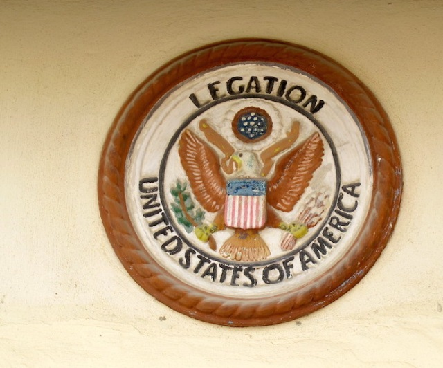 The coat of arms over the front door of the old legation.