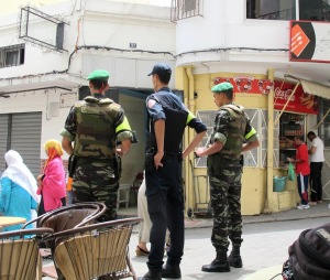 Group patrol, two military and one policeman, in Tangier.