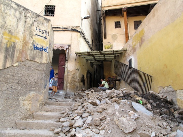 The entrance to the alleyway off which Hostel Dar Lalla Kenza was located.