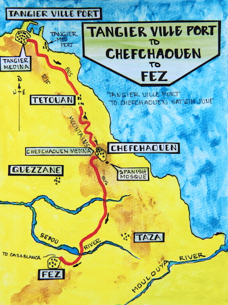 The distance from Chefchaouen to Fez is approximately 225 kilometres.