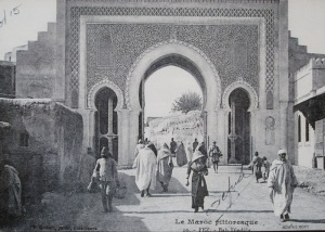 Fez medina gateway circa 1915. The arches here are called horseshoe arches.