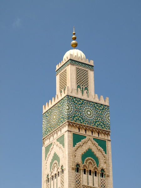 The minaret of the Hassan II Mosque.