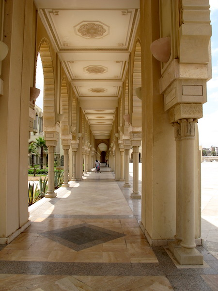 A view down a colonnade adjacent to the mosque.