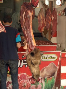 The butcher suggested we try camel neck meat. We declined, preferring beef.