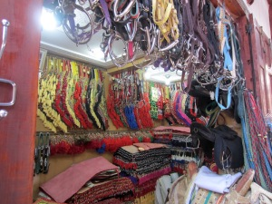 Saddlery in the Fez market.