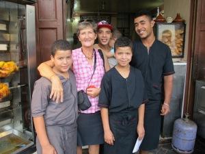 Hamza, Kwela and Daykr at the Snak Malak Café.