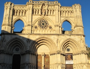 The facade of the Cuenca Cathedral.