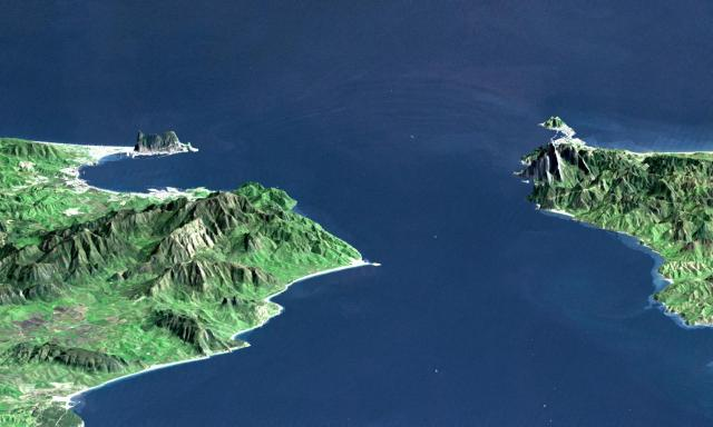 A NASA image of the Strait of Gibraltar looking east.