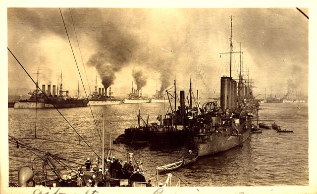 The Great White Fleet visiting Gibraltar in 1909. Image via Wikipedia. In the public domain as copyright has expired.
