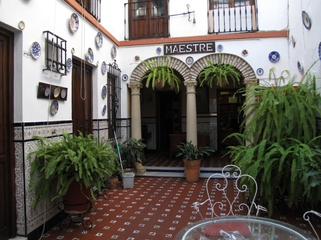 The courtyard of the nearby Hostel Maestre, a former family home.