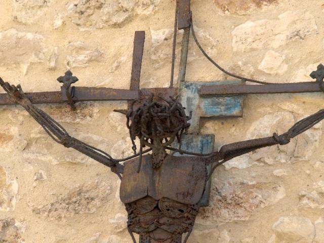 Scrap steel art. Jesus' chest is a portion of a shovel.