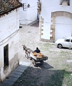 The 1973 view from the balcony. Note the angel statue on the corner of the church directly above the donkey cart driver's head.