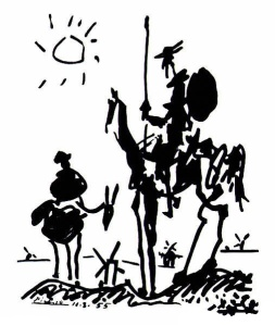 A 1955 painting of Don Quixote and Sancho Panza by Pablo Picasso (1881-1973).