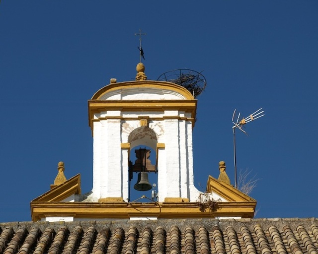 A 2015 image of the belltower. The only changes are the stork nest, which has a metal frame support, and a TV antenna.