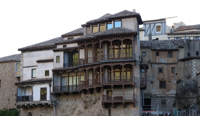 Front view of the famous Hanging Houses, Cuenca.