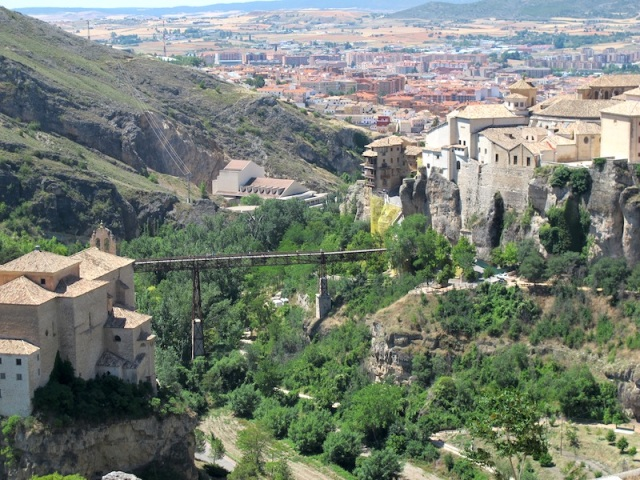The San Pablo Bridge. Cuenca old town is on the right and in the distance is Cuenca new town.