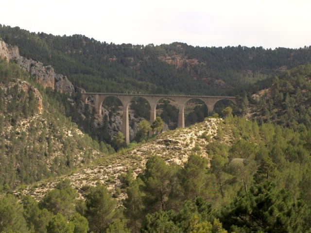 A railway viaduct our train crossed on the journey between Cuenca and Valencia.
