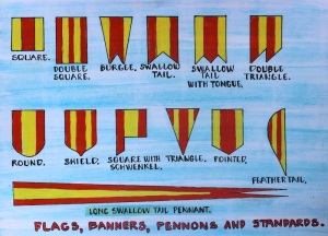 A sketch showing a few of the many pennons. A pennon was a personal ensign and essentially the flag of the Knight Batchelor.