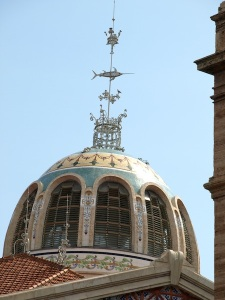 The tiled cupola and finale of the Central Market.