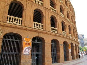 Close up of the fine brickwork on the bullfighting arena. To make a perfect circular building takes some skill.