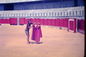 Bev waving a cape in the Malaga bullring 1972.