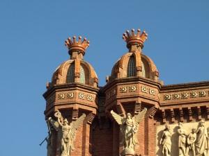 Faux crowns on top of the Barcelona Arc de Triomf cupolas.