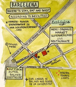 Map showing where Bev and I stayed and ate in Barcelona.