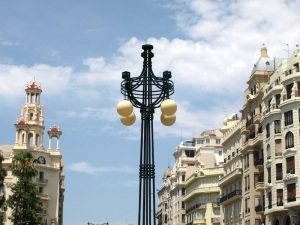 Ornate street lights.