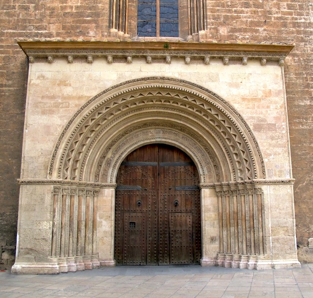 An unusually plain portal or entrance to a church in Valencia.