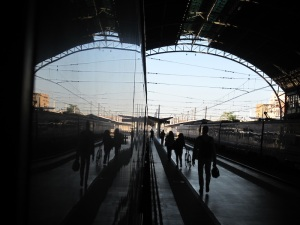A reflection in the side of the train at Valencia Railway Station the morning we left for Barcelona.